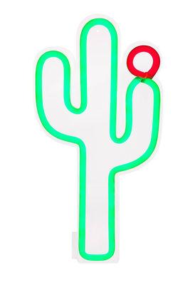 Neon Cactus Large Wandleuchte mit Stromkabel / LED - H 60 cm - Sunnylife - Grün
