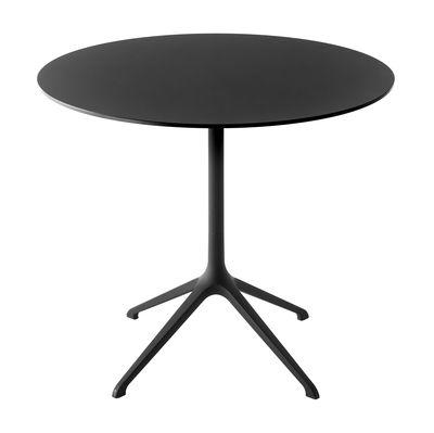 Jardin - Tables de jardin - Table pliante Elephant / Ø 90 cm - Kristalia - Noir - Aluminium laqué, Laminé