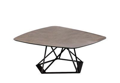 Table basse Poliedrik / Stratifié effet oxydation - L 87 cm - Zeus marron,noir cuivré en métal