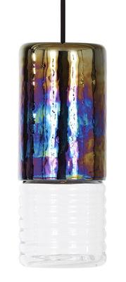 Flask Long Pendelleuchte / Ø 10 cm x H 25 cm - Tom Dixon - Transparent,Irisierend
