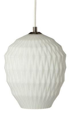 Luminaire - Suspensions - Suspension Ice Crystal / Ø 20 cm - Frandsen - Blanc opaque - Métal, Textile, Verre