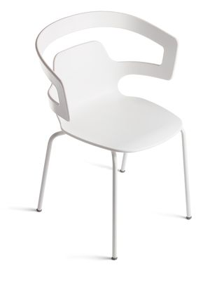 Furniture - Chairs - Segesta Stackable armchair - Plastic shell & metal legs by Alias - White lacquered steel structure / White plastic seat - Lacquered steel, Plastic material