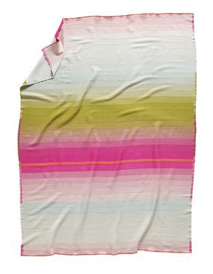 Plaid Colour n°3 / Lana - 180 x 140 cm - Hay bleu,rose,curry en tissu