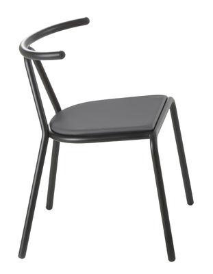Mobilier - Chaises, fauteuils de salle à manger - Chaise rembourrée Toro / Assise tissu rembourrée - B-LINE - Assise tissu / Noir - Acier verni, Mousse polyuréthane, Tissu