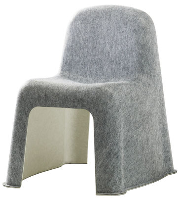 Furniture - Chairs - Nobody Stacking chair - Felt by Hay - Light grey / Off white - Fine felt fabric, Plastic PET