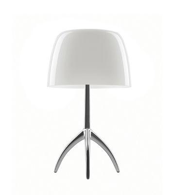 Lampe de table Lumière Piccola / Variateur - H 35 cm - Foscarini alu poli,blanc chaud en métal