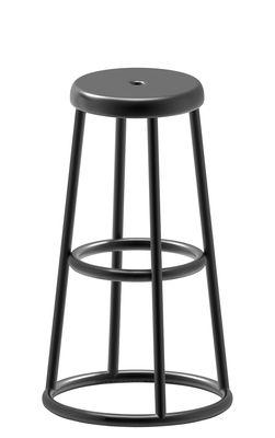 Mobilier - Tabourets de bar - Tabouret haut Industrial / H 64 cm - Pour l'extérieur - Zeus - Gris canon de fusil - Acier peint