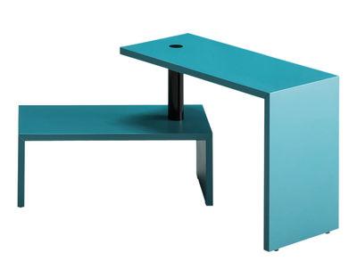 Tavolino Basello - modulabile / 2 elementi - H 45 cm di Zanotta - Nero,Blu petrolio - Metallo