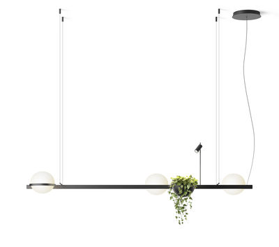 Palma Pendelleuchte / horizontal mit 3 Lampen & Pflanzgefäß - Vibia - Laqué graphite mat