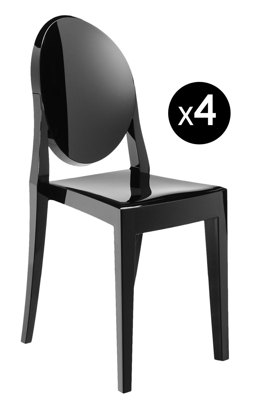 chaise empilable victoria ghost lot de 4 noir opaque kartell. Black Bedroom Furniture Sets. Home Design Ideas