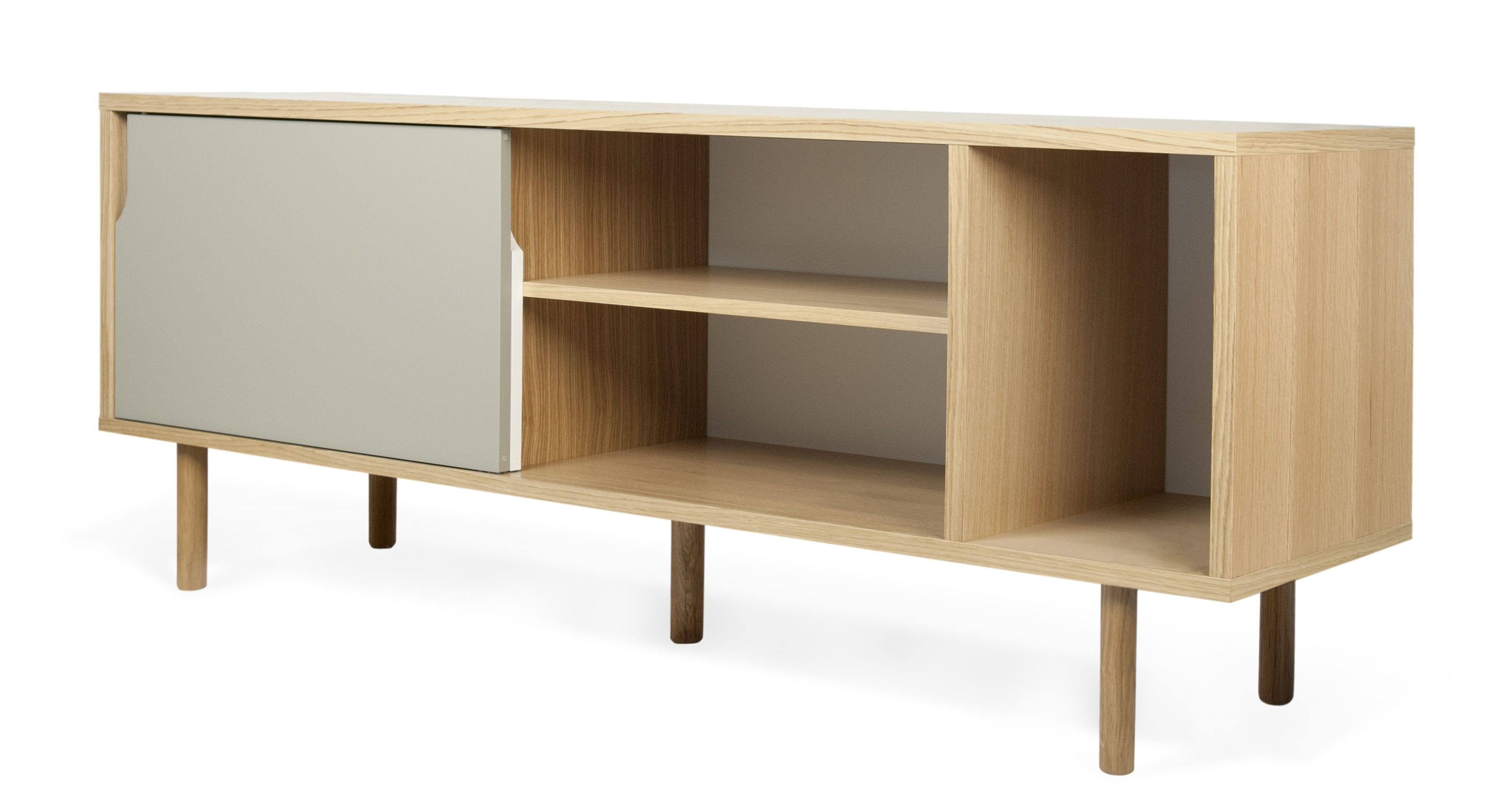 buffet amsterdam l 165 cm ch ne portes blanche grise pop up home. Black Bedroom Furniture Sets. Home Design Ideas