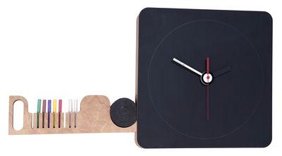 Horloge murale Tabla / Ardoise - 42 x42 cm - Diamantini & Domeniconi noir,bois clair en bois