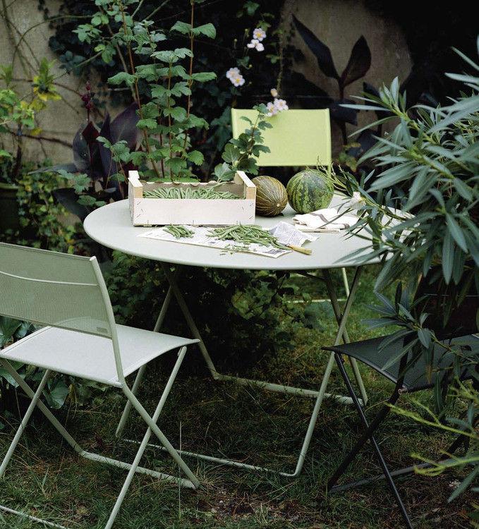 chaise pliante plein air toile verveine fermob. Black Bedroom Furniture Sets. Home Design Ideas