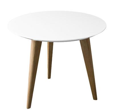 Lalinde Ronde Couchtisch ronde - klein Ø 45 cm / Tischbeine aus Holz - Sentou Edition - Weiß,Eiche