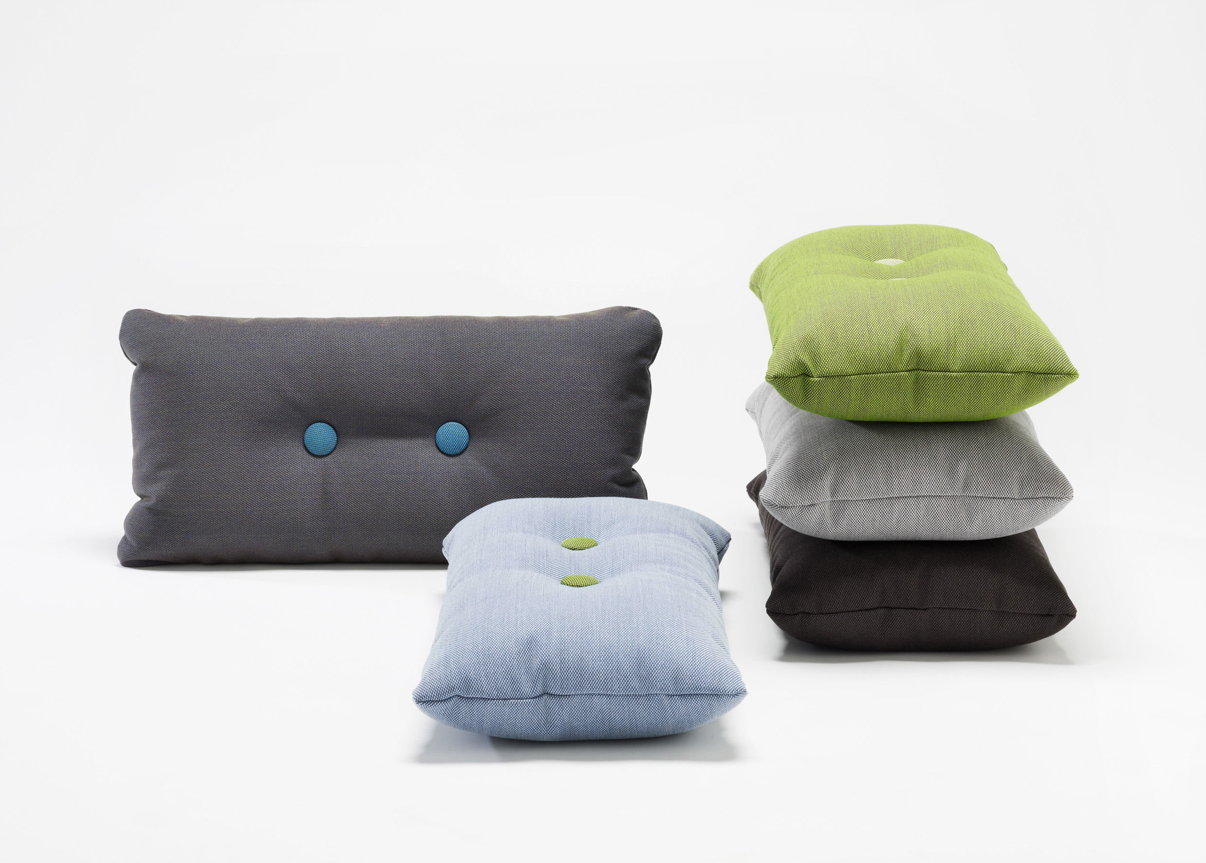Dot   Steelcut Trio Cushion   74 X 40 Cm Light Grey   Dark Grey U0026 Green Dots  By Hay