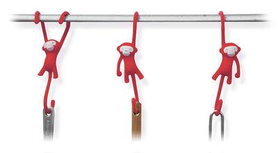 Crochet Just hanging Lot de 3 Pa Design rouge en matière plastique