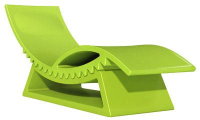 Jardin - Chaises longues et hamacs - Chaise longue TicTac / Avec table basse - Version laquée - Slide - Vert laqué - Polyéthylène laqué