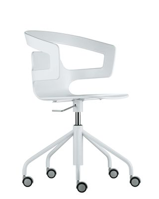 Office Chairs - Office chairs with castors - Segesta Studio Armchair on casters - With castors by Alias - White lacquered steel structure / White plastic seat - Lacquered steel, Plastic material