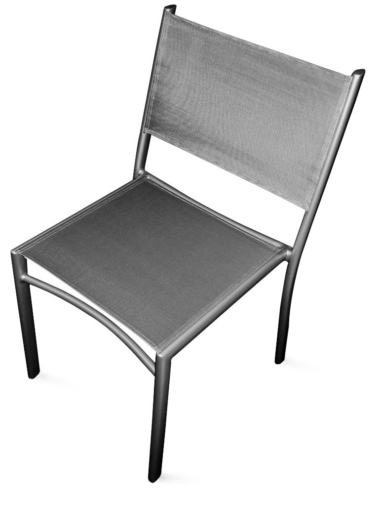 Chaise empilable costa assise toile gris m tal fermob for Chaise salle a manger metal