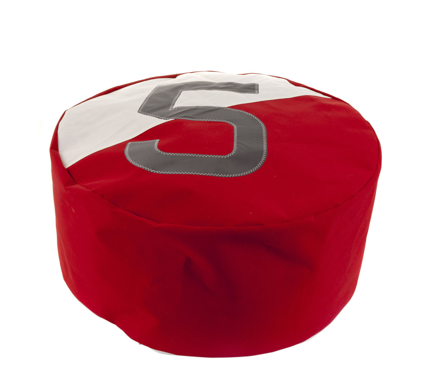 Duo Pouf - Ø 72 cm / Recycled boat sail Red & white / Grey by 727 Sailbags