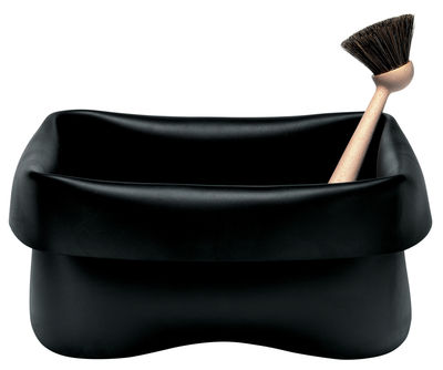 Bassine Washing up Bowl en caoutchouc Avec brosse Normann Copenhagen noir en matière plastique