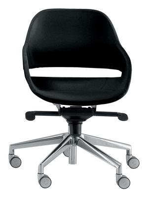Möbel - Möbel für Teens - Eva Sessel mit Rollen - Zanotta - Fuß: poliertes Aluminium -  Sitzschale: schwarz - poliertes Aluminium, Polyurhethan