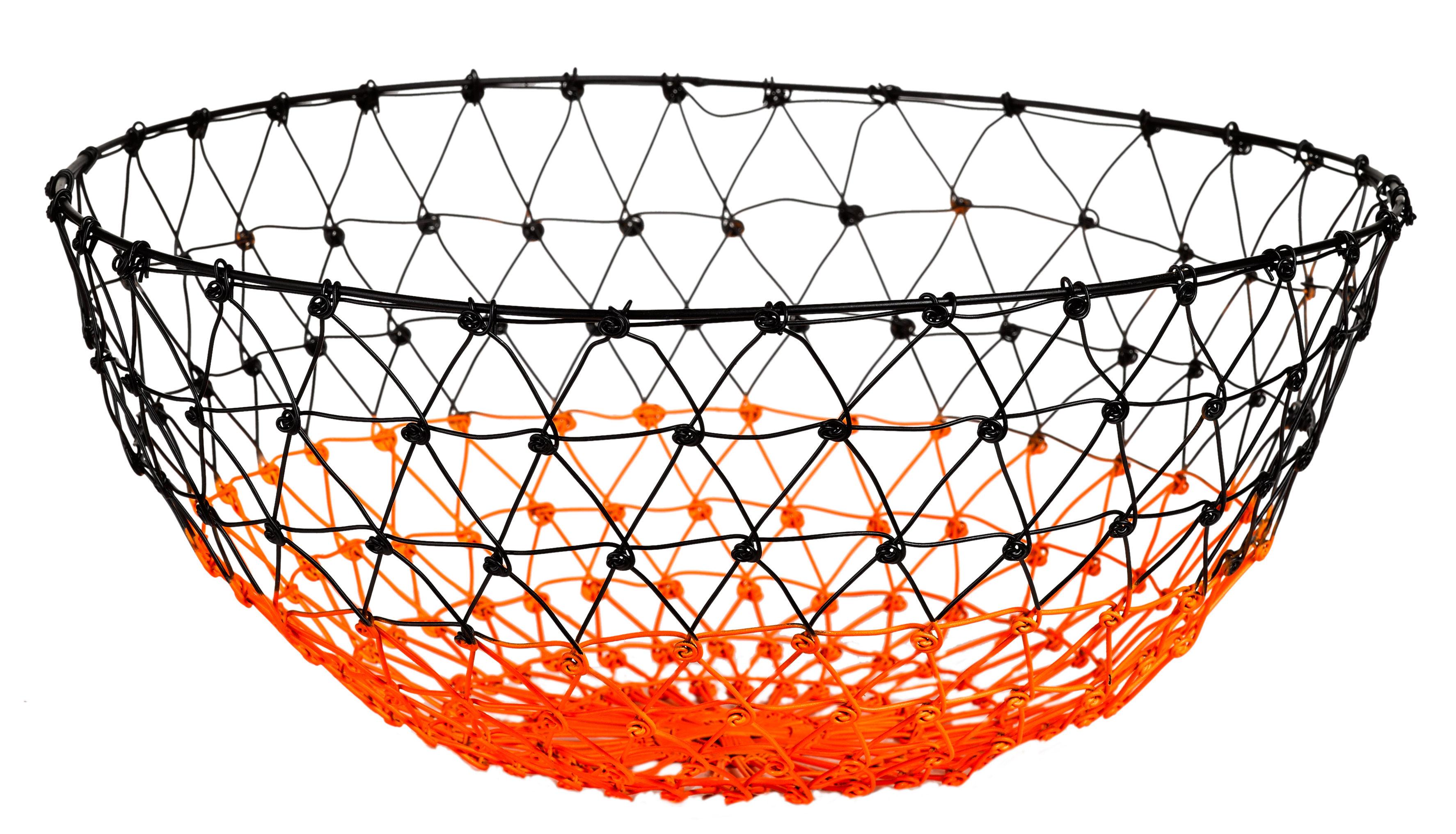 corbeille gradient knot fil de fer 31 cm noir orange fluo pols potten. Black Bedroom Furniture Sets. Home Design Ideas