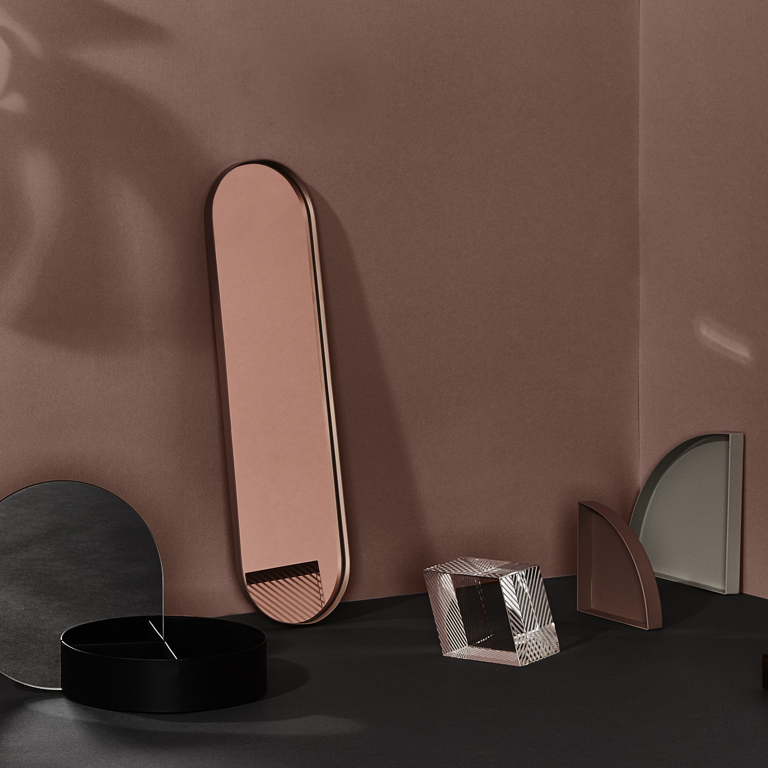 Plateau margo fond miroir 46 x 12 cm dor fond for Fond miroir