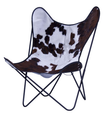 Chaise AA Butterfly cuir / Structure noire - AA-New Design blanc,marron en cuir