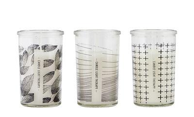 Déco - Bougeoirs, photophores - Bougie Graphic / Set de 3 - Verre - House Doctor - Motifs noirs / Transparent - Cire, Verre