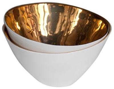 Bol Affamés Lot de 2 Tsé Tsé blanc,or en céramique