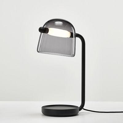 Luminaire - Lampes de table - Lampe de table Mona / Verre - Brokis - Verre gris / Pied noir - Chêne teinté, Métal laqué, Verre soufflé bouche