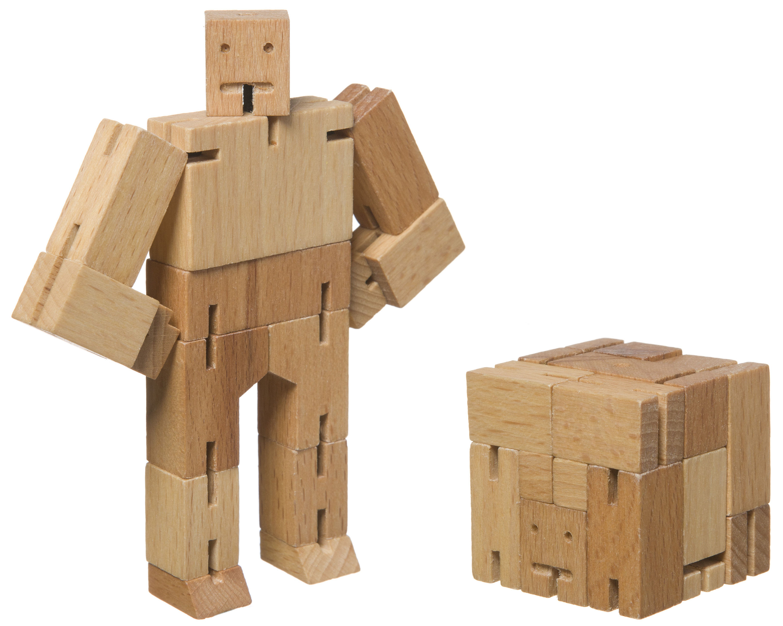jouet cubebot micro en bois robot articul ou cube h 10 80 cm naturel areaware pop corn. Black Bedroom Furniture Sets. Home Design Ideas