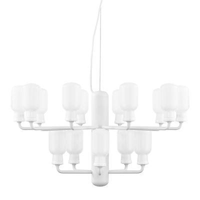 Luminaire - Suspensions - Suspension Amp Chandelier Small / Ø 62 cm - Marbre & verre - Normann Copenhagen - Blanc / Verre transparent - Acier laqué, Marbre, Verre
