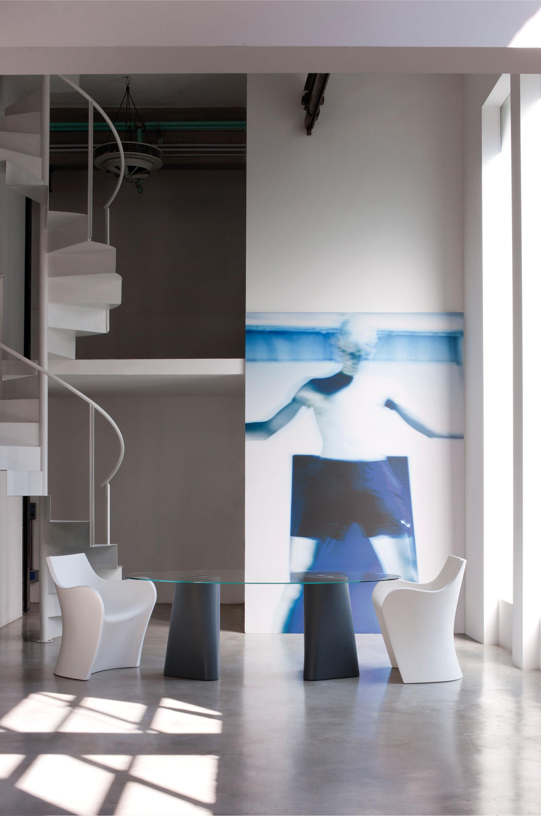 adam tisch 200 x 100 cm tischbein wei tischplatte transparent by b line made in design. Black Bedroom Furniture Sets. Home Design Ideas