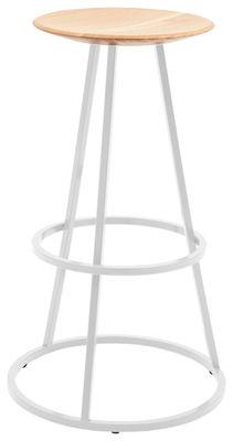 Mobilier - Tabourets de bar - Tabouret de bar Grand Gustave / H 77 cm - Bois & métal - Hartô - Gris clair - Acier laqué, Chêne massif