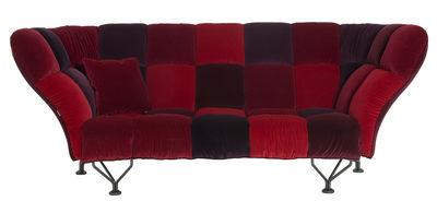 Mobilier - Canapés - Canapé droit 33 Cuscini / 3 places - L 235 cm - Driade - Rouge - Acier, Mousse de polyuréthane, Velours