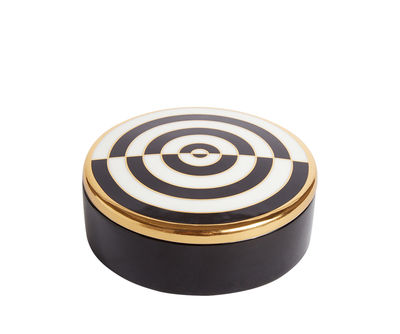 Image of Scatola Op Art - / Porcellana & oro 24 carati di Jonathan Adler - Bianco,Nero,Oro - Ceramica