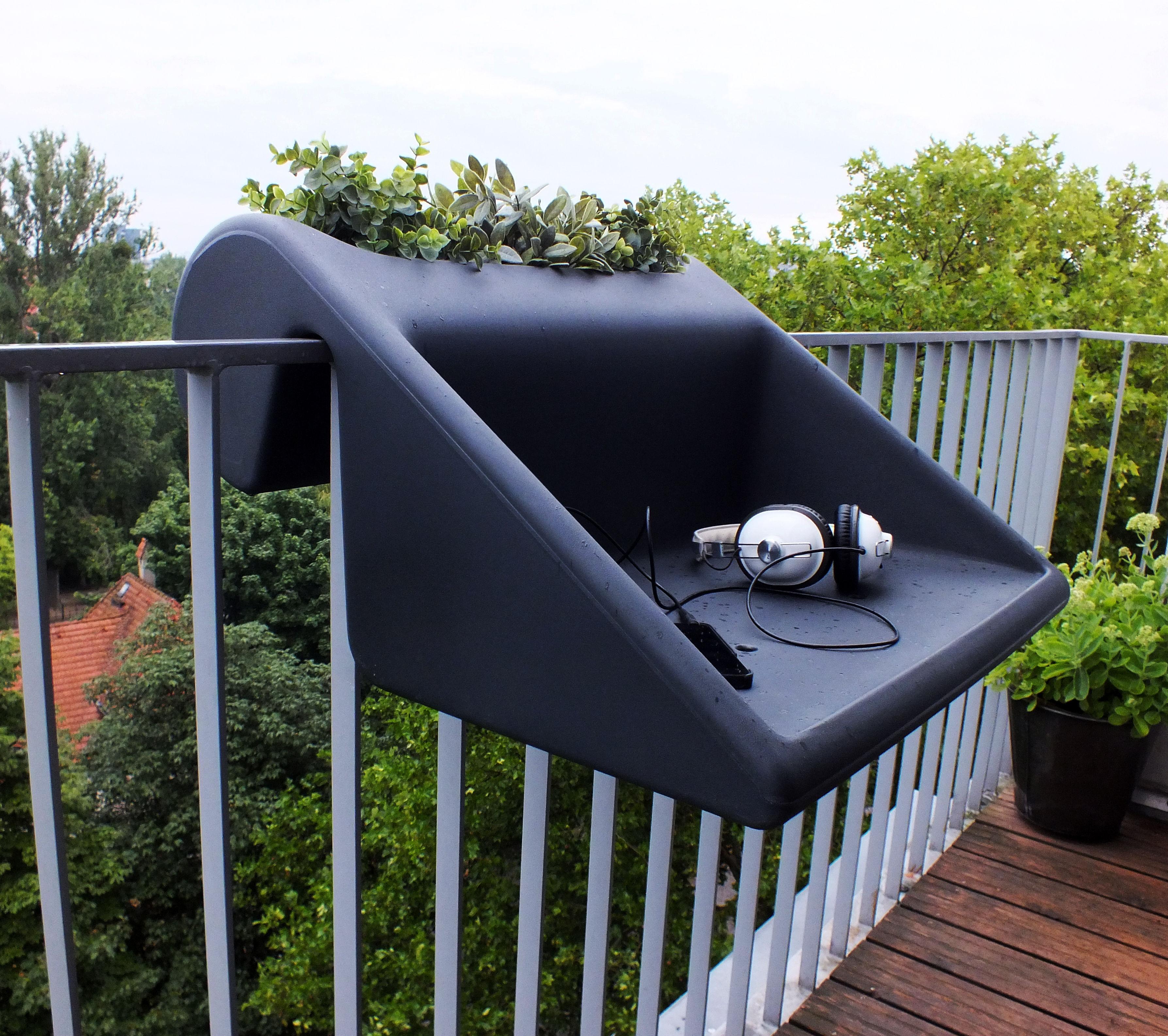 Table d 39 appoint balkonzept suspendre pour balcons jardini re int gr e anthracite rephorm - Table suspendue pour balcon ...