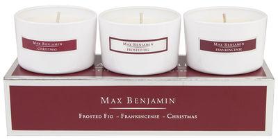 Bougie parfumée Noël / Set de 3 - 80gr - Max Benjamin bordeaux en verre