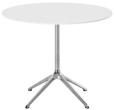 Christmas - Design Tribe : Urban - Table Elfin Indoor / Ø 90 cm - Made in design Editions by DESIGNFIT - Blanc / Pied alu poli - Fonte d'aluminium polie, HPL