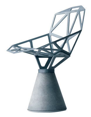 Fauteuil Chair one B / Alu poli & base béton - Magis aluminium poli en métal