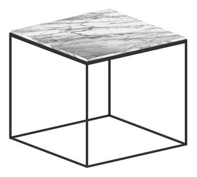 Tavolino Slim Marbre - / 54 x 54 x H 48 cm di Zeus - Bianco,Nero ramato - Metallo