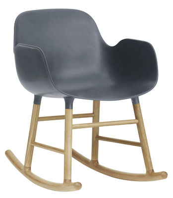 Foto Rocking chair Form - Normann Copenhagen - Rovere naturale,Blu grigio - Materiale plastico