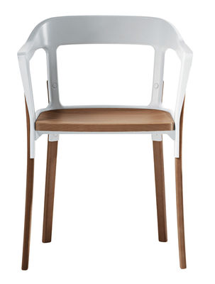 Möbel - Stühle  - Steelwood Sessel Zweifarbig Variante - Magis - Weiß / Buche - Buchenfurnier, gefirnister Stahl
