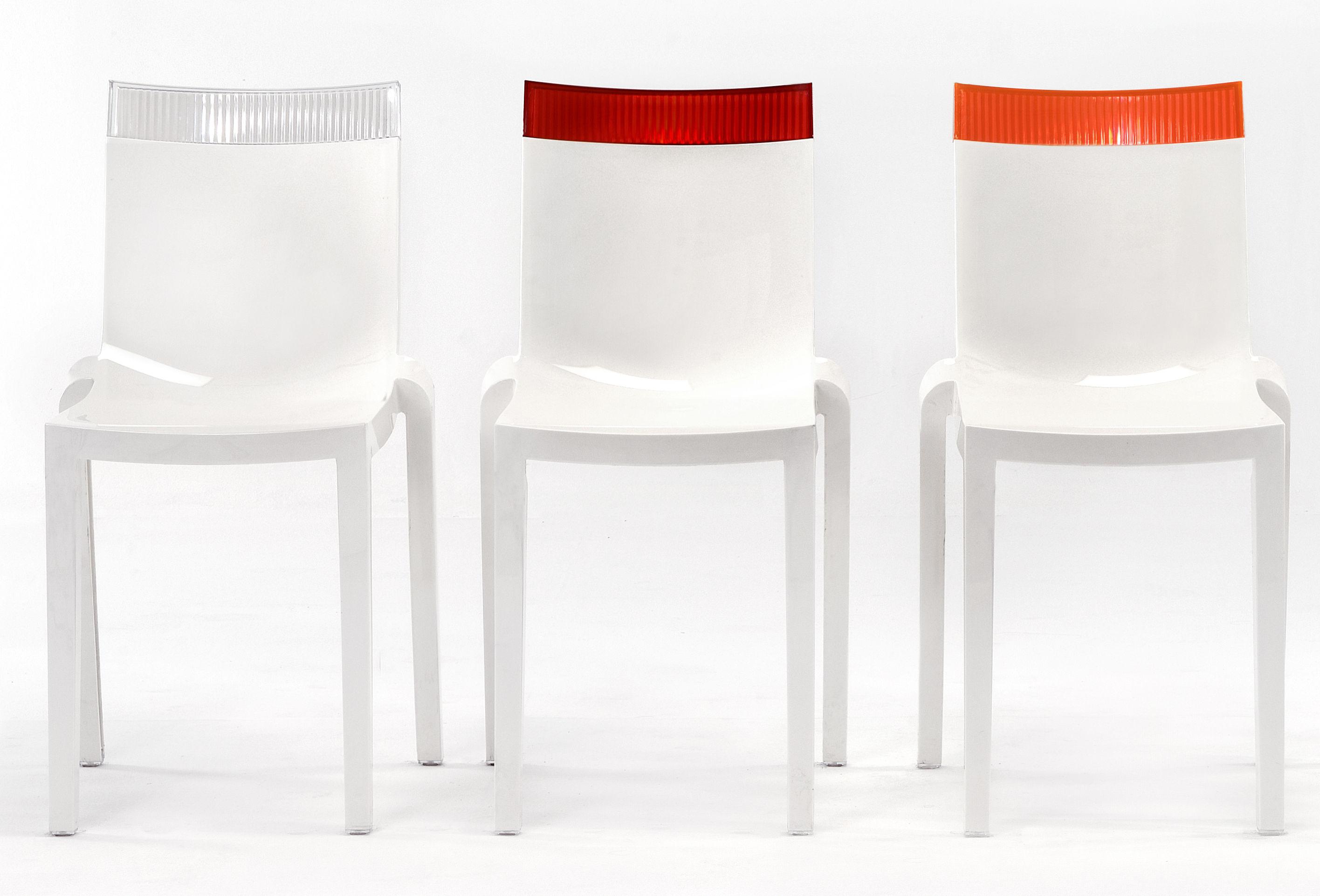 chaise empilable hi cut blanche polycarbonate blanc laqu violet kartell. Black Bedroom Furniture Sets. Home Design Ideas