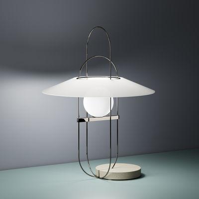 Luminaire - Lampes de table - Lampe de table Setareh / LED - Ø 45 x H 61 cm - Fontana Arte - Chromé, Gris, blanc - Ciment, Métal, Verre soufflé bouche
