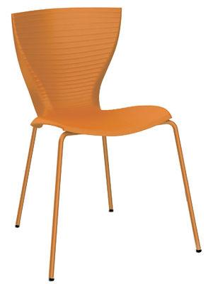 Chaise empilable Gloria / Plastique & pieds métal - Slide orange en matière plastique