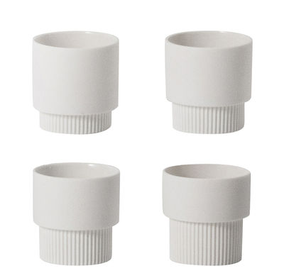 Tableware - Coffee Mugs & Tea Cups - Groove Espresso cup - Set of 4 / H 5 cm by Ferm Living - White - China