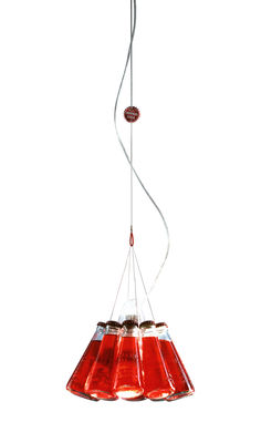 Lighting - Suspensions - Campari Light Pendant - L 155 cm by Ingo Maurer - Red & white - Glass, Metal
